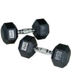 York Rubber Coated Hex Dumbbell Set 5-50 lbs.
