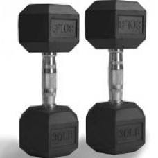 Pair 30 lb Black Rubber Coated Hex Dumbbells Weight Training Set 60 lb Fitness