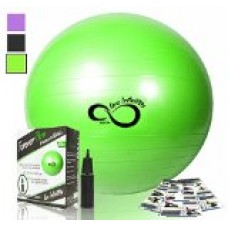 Exercise Ball -Professional Grade Anti Burst Tested with Hand Pump- Supports 2200lbs- Includes Workout Guide Access- 55cm/65cm/75cm/85cm Balance Balls (Green, 55 cm)