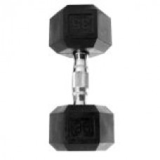 Rubber Coated Hex Dumbbell with Contoured Chrome Handle [Set of 2] Weight: 35 lbs