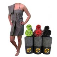 Microfiber Sports, Gym, & Fitness Towel   FREE BONUS Small Hand Size With Large   Extra Compact for Beach, Hiking, Camping & Travel   Dries Faster at Pool & Golf   by SunActive- Large Steel / Green
