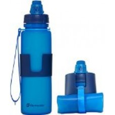 Nomader BPA Free Collapsible Sports Water Bottle - Foldable with Reusable Leak Proof Twist Cap for Gym Travel Hiking Camping and Outdoors - 22 oz (Blue)