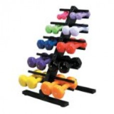 CanDo 10-0566 Vinyl Coated Dumbbell, 20-piece Set with 2 Wall Racks
