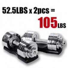Starring 105 - 200 Lbs adjustable dumbbells (105 LBS Silver with Trays)